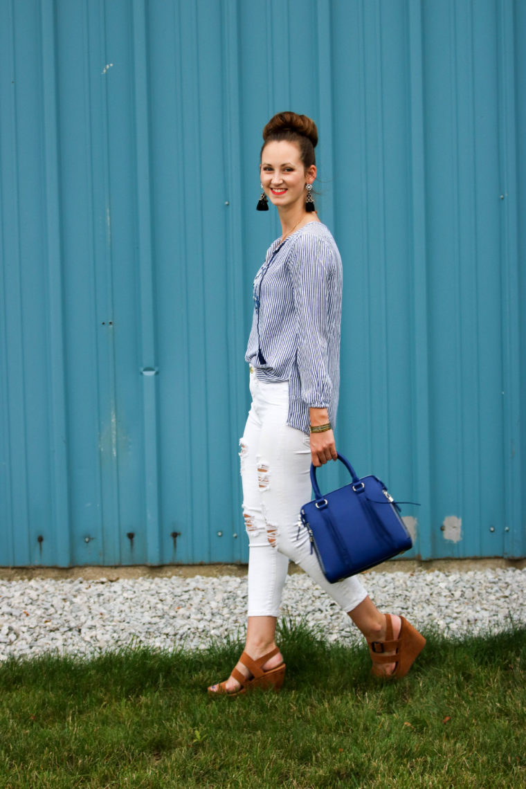 for the love of glitter, work attire, embroidered tunic, blue bag