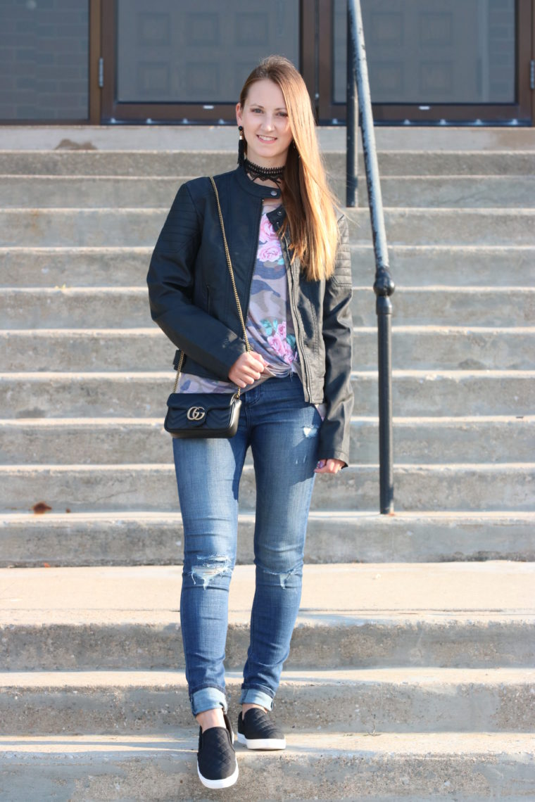 for the love of glitter, camo tee, leather jacket, fall fashion, Gucci bag