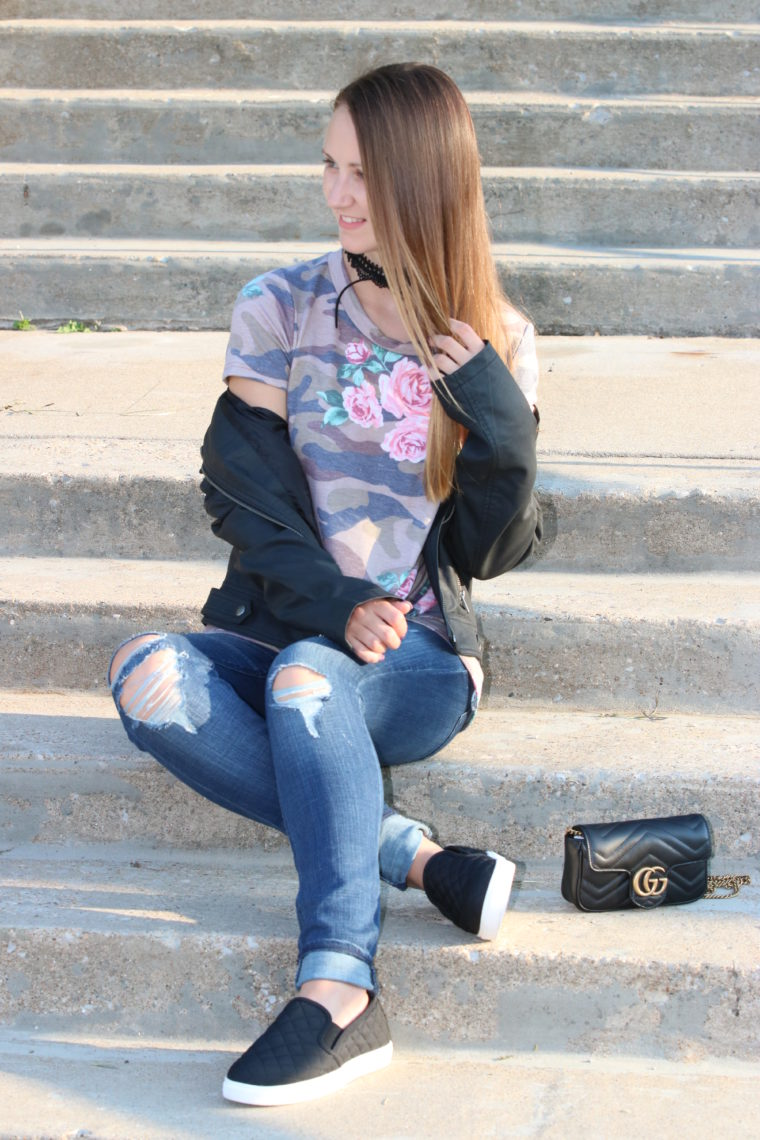 for the love of glitter, leather jacket, camo tee, Gucci bag, fall style, women's fashion