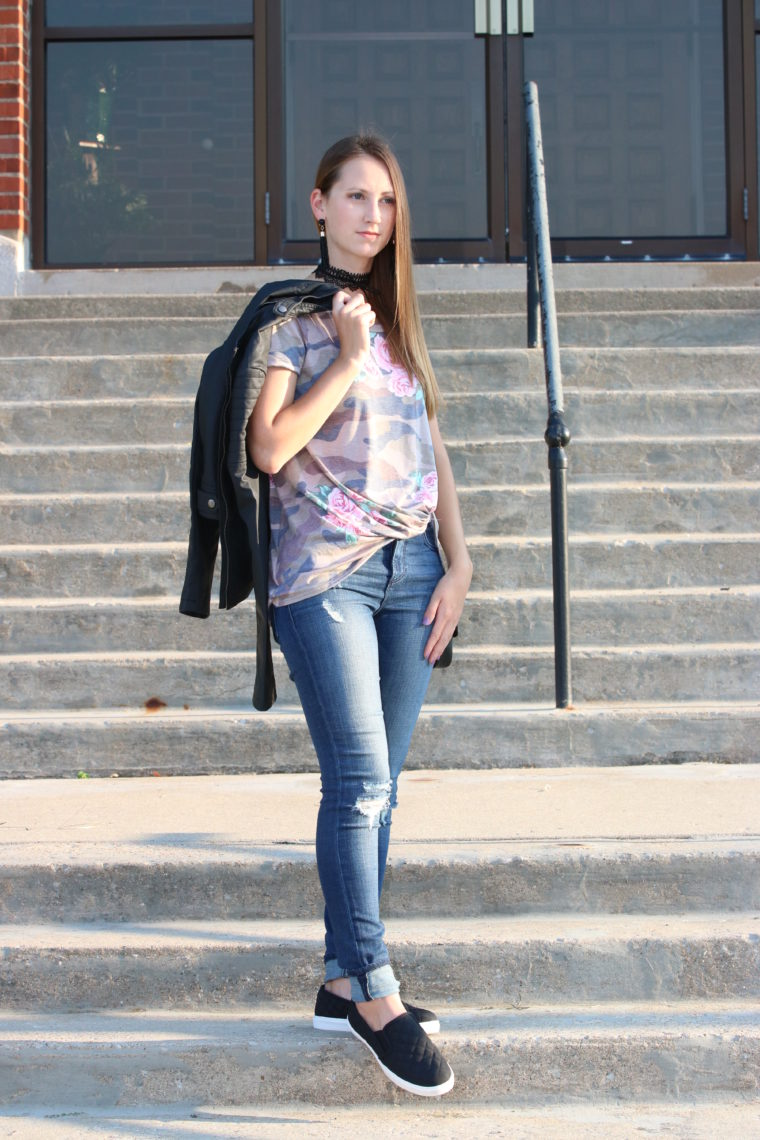 for the love of glitter, camo tee, leather jacket, fall style, women's fashion