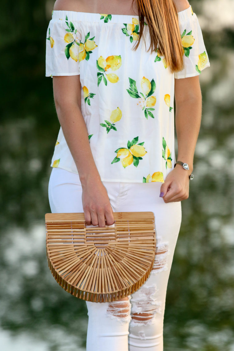 for the love of glitter, lemon top, off the shoulder top, Cult Gaia bag