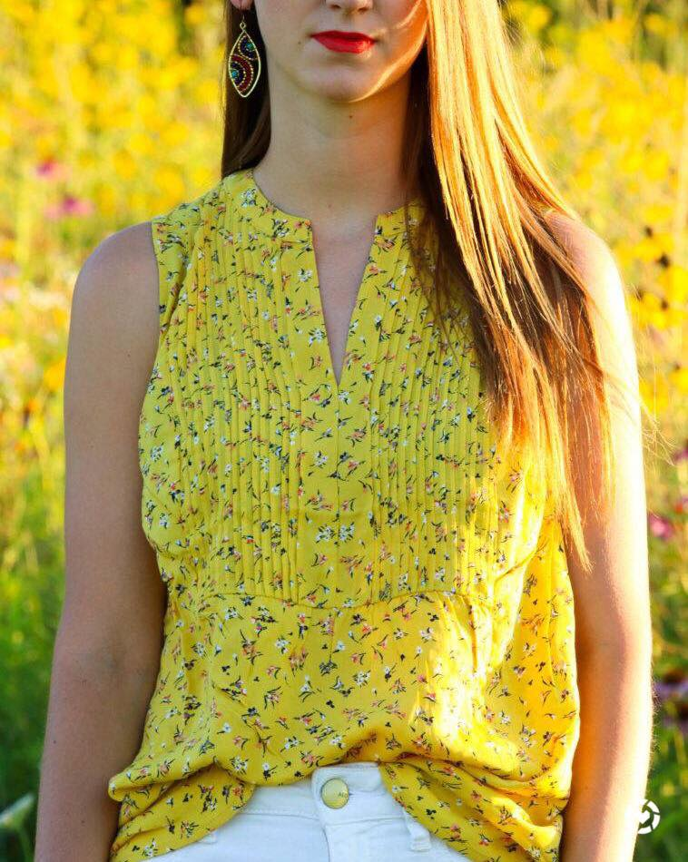 for the love of glitter, yellow floral tank, summer style. women's fashion
