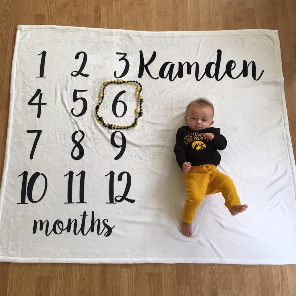 baby boy, 6 months old, month by month blanket
