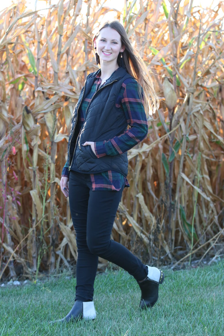 for the love of glitter, black vest, plaid top, plaid long sleeve, studded booties, fall style