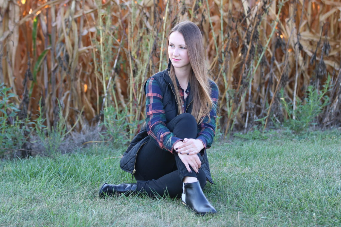 for the love of glitter, black vest, plaid long sleeve, spike booties, fall booties 2017