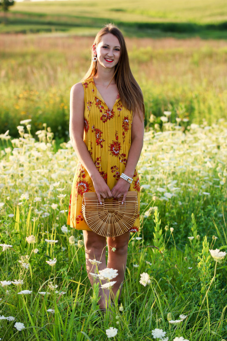 for the love of glitter, yellow swing dress, Cult Gaia bag, bamboo bag, summer style