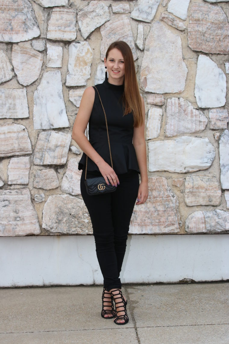for the love of glitter, peplum top, date night look, black denim, Gucci jeans