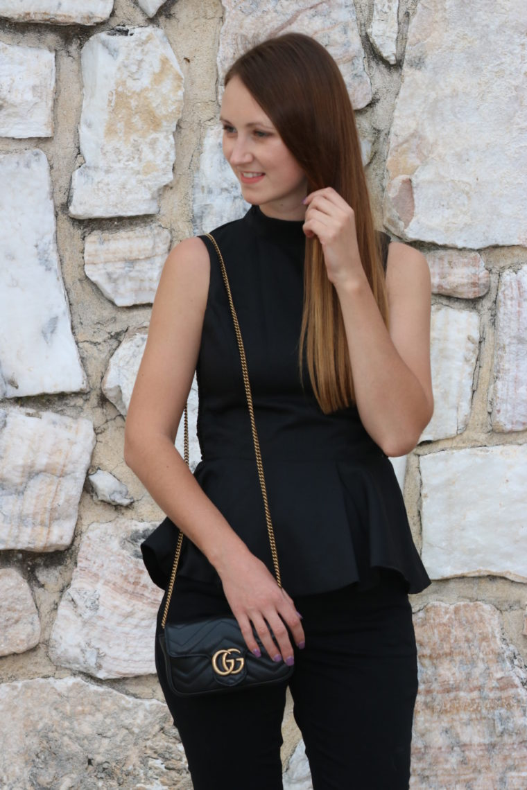 for the love of glitter, black peplum top, Gucci bag, black denim, date night look