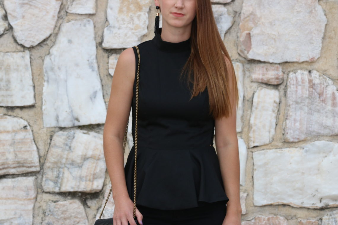 for the love of glitter, peplum top, tassel earrings, date night look, Gucci bag
