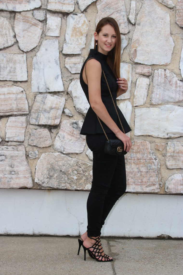 for the love of glitter, black outfit, date night look, peplum top