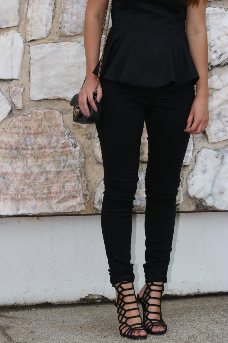 for the love of glitter, peplum top, black denim, date night look
