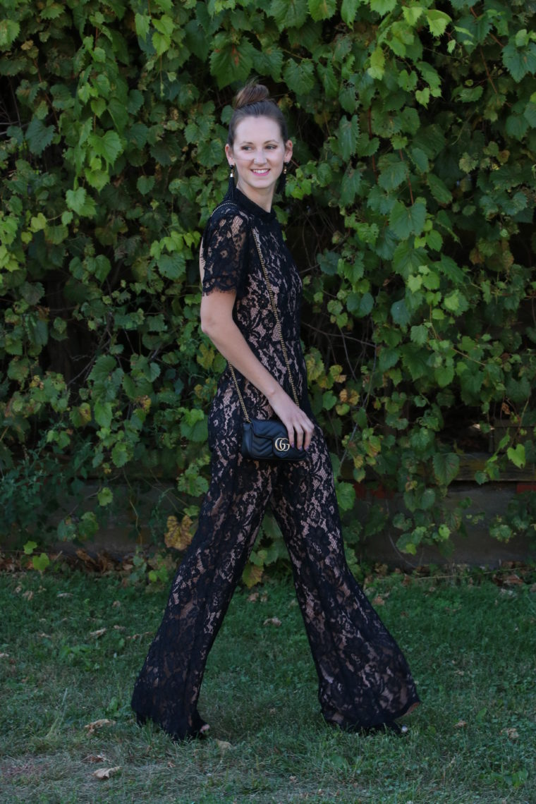 for the love of glitter, black lace jumpsuit, Gucci bag, date night look, women's fashion