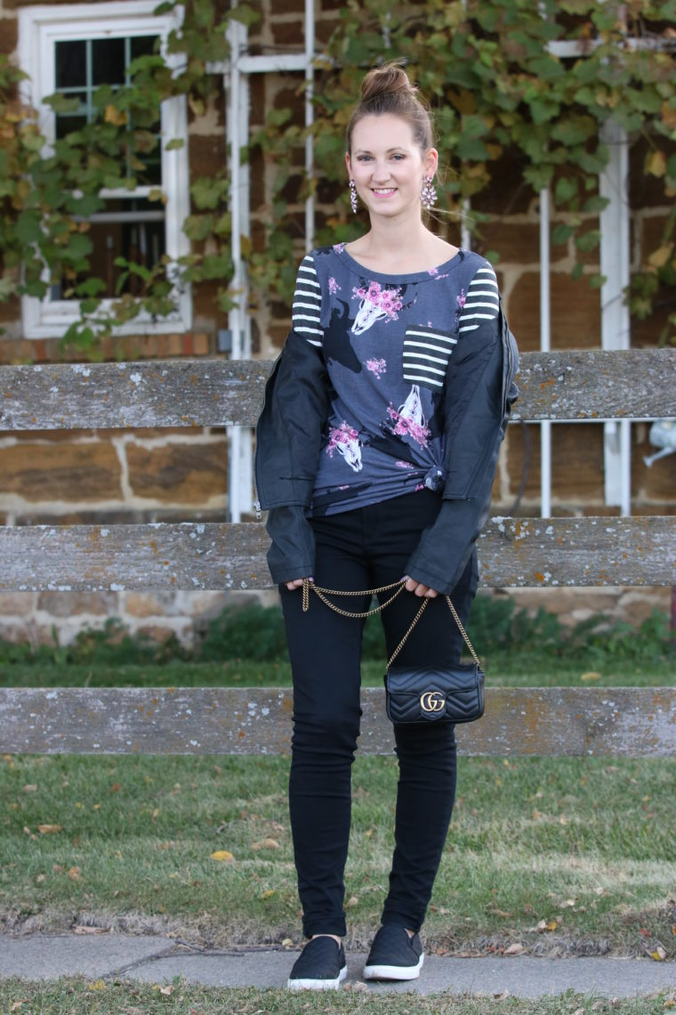 for the love of glitter, bull skull tunic, Gucci bag, fall style