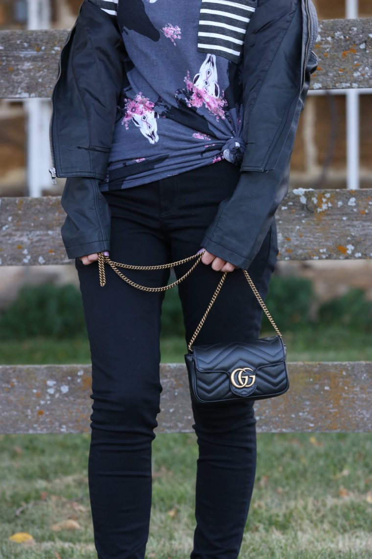for the love of glitter, leather jacket, black jeans, Gucci bag, fall style