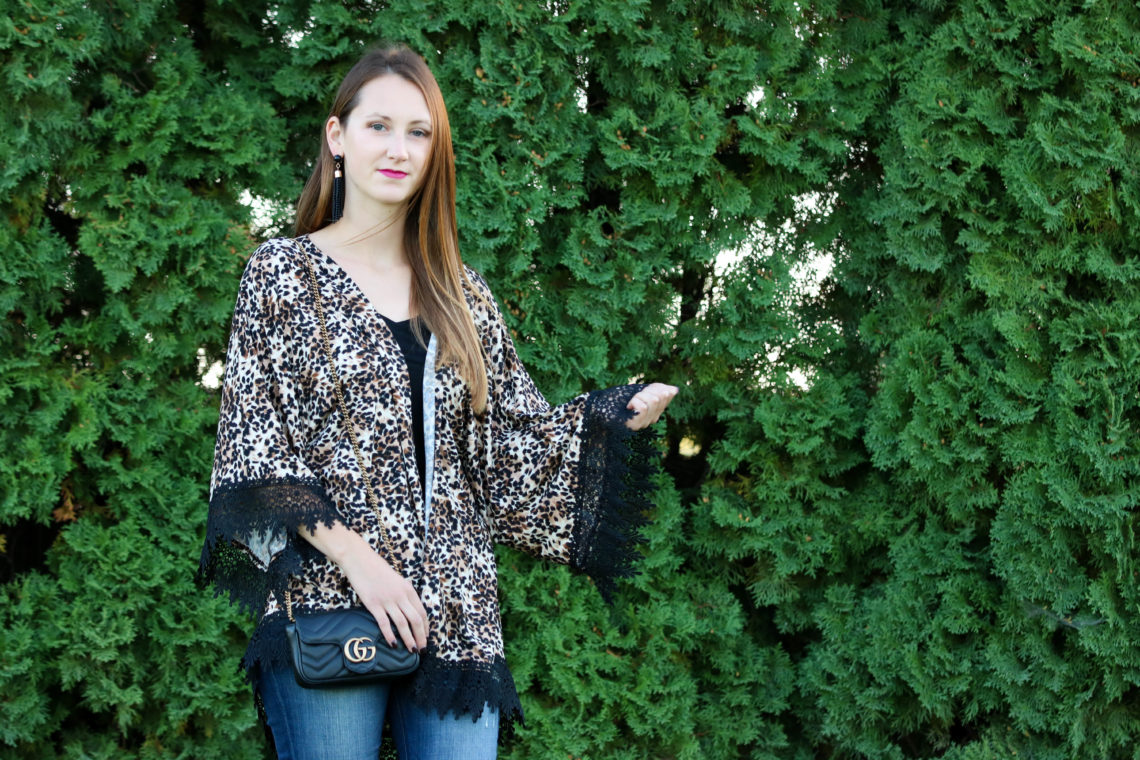 for the love of glitter, leopard kimono, Gucci bag, fall style, women's fashion