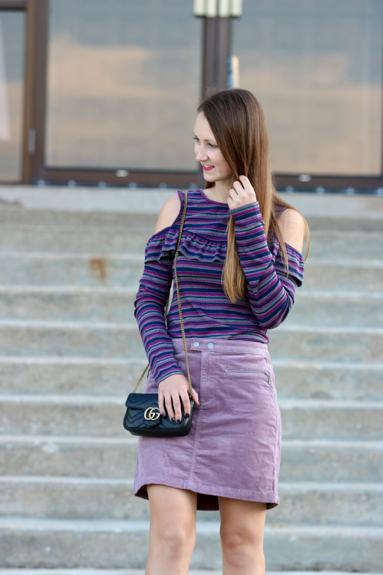 Ruffle Cold Shoulder Top + Mauve Corduroy Skirt