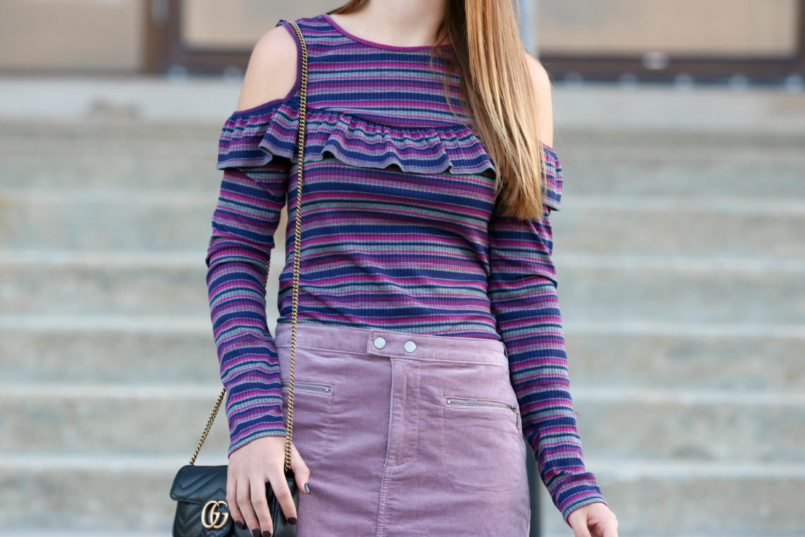 for the love of glitter, corduroy skirt, Gucci bag, stripe top, women's fashion