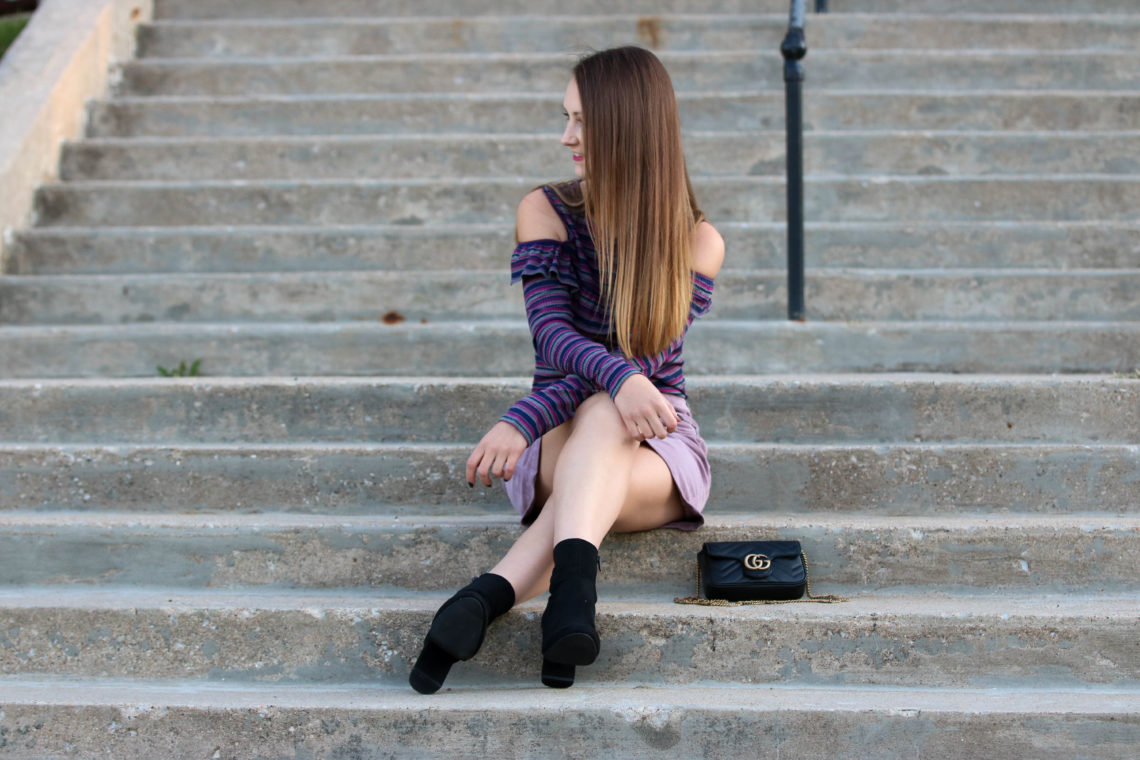 for the love of glitter, corduroy skirt, sock booties, fall style, stripe top, Gucci bag