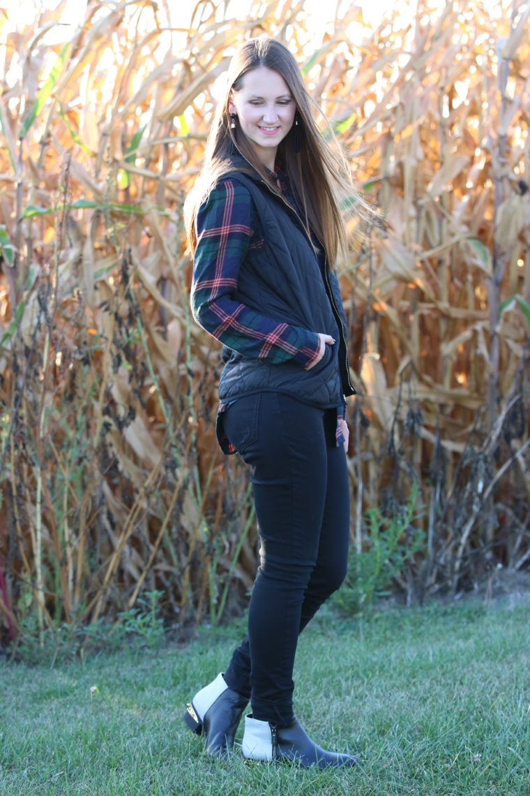 for the love of glitter, studded boots, black vest, plaid long sleeve, fall style