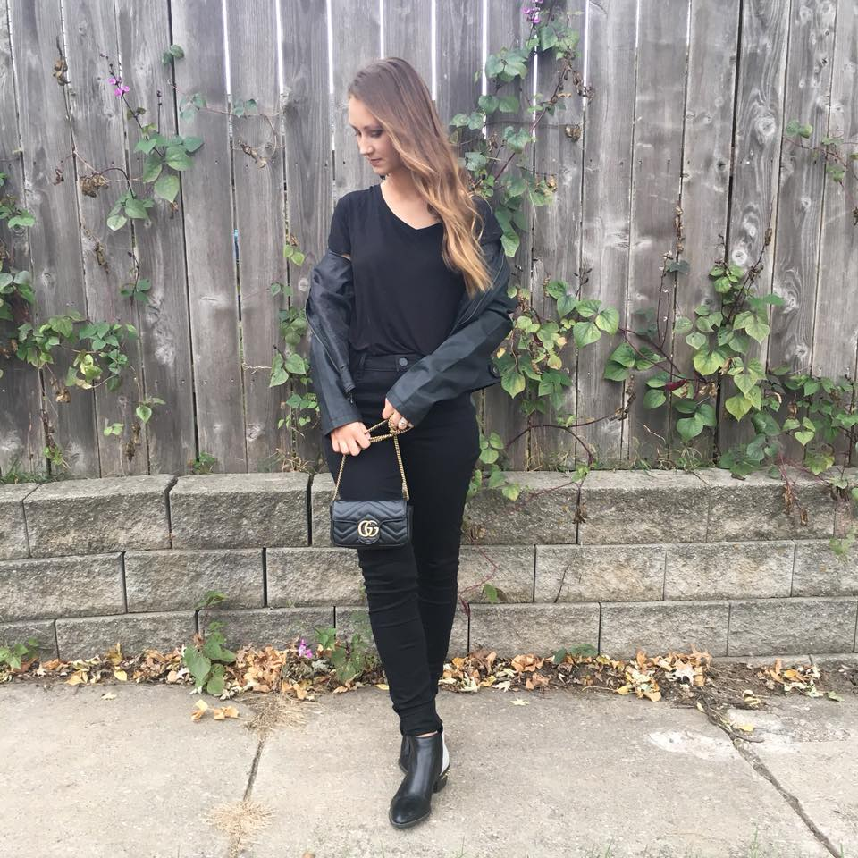 black outfit, Gucci bag, fall style