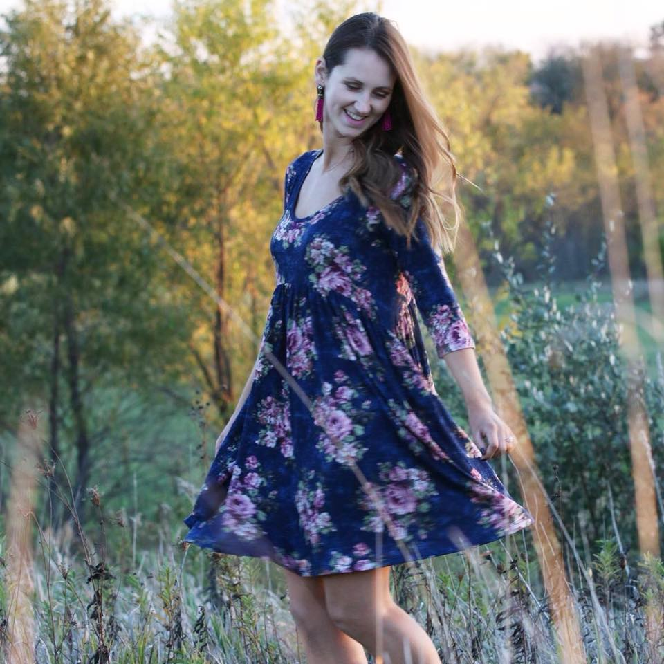 floral dress, swing dress, fall style