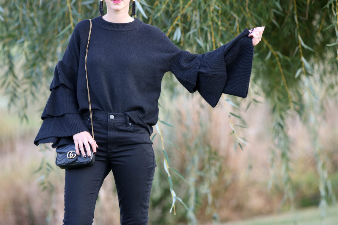 for the love of glitter, tiered sleeves, tiered sweater, Gucci bag, black jeans, women's fashion