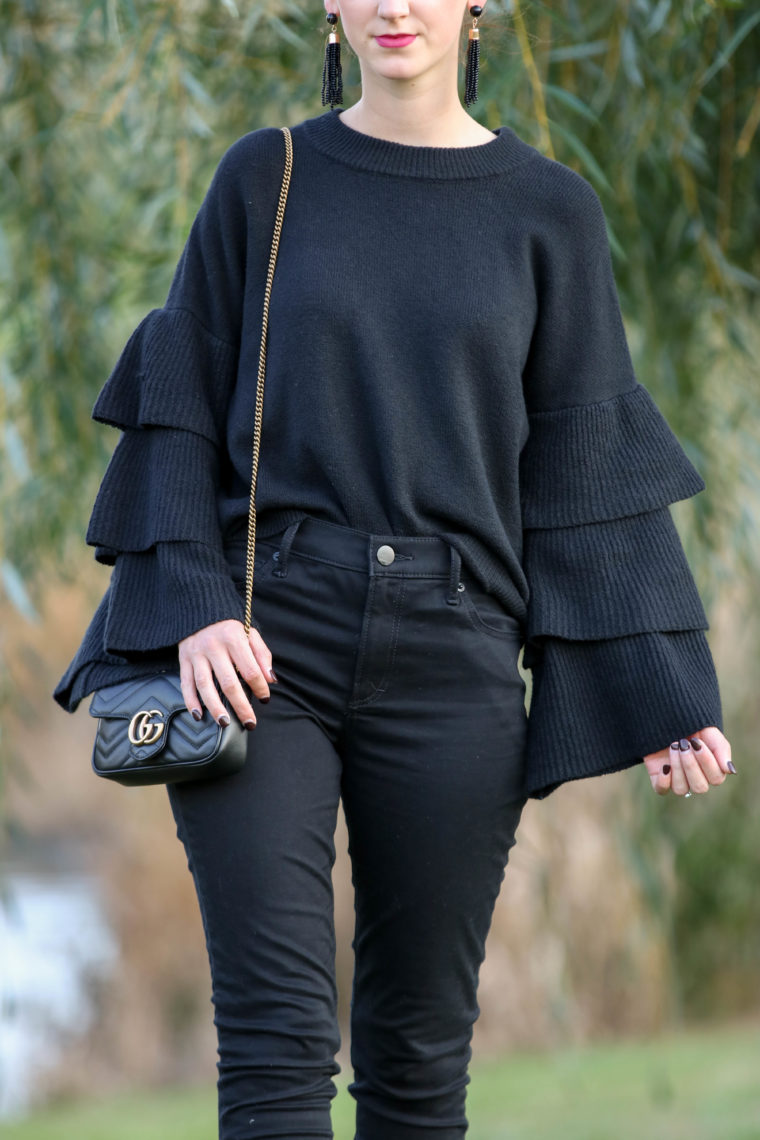 for the love of glitter, tired top, tiered sleeves, Gucci bag, black outfit, fall style, women's fashion