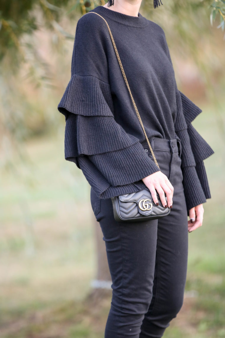 for the love of glitter, tiered sleeves, Gucci bag, fall style tiered sweater, women's fashion