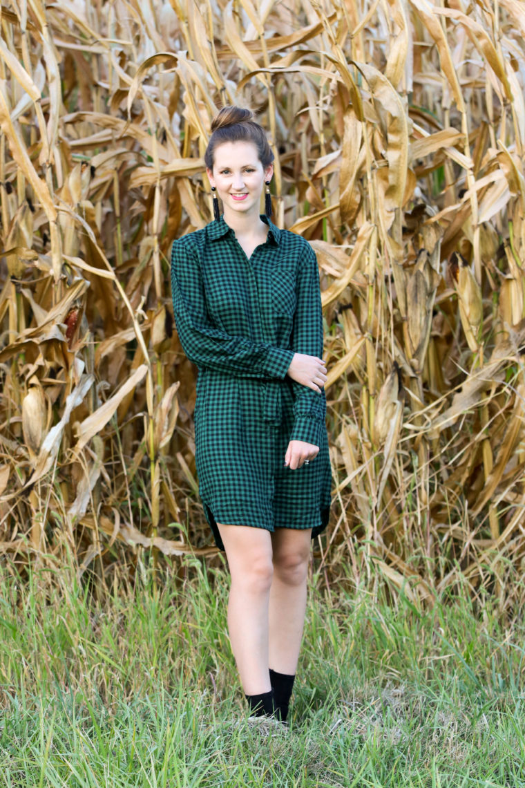 Green Gingham Shirt Dress