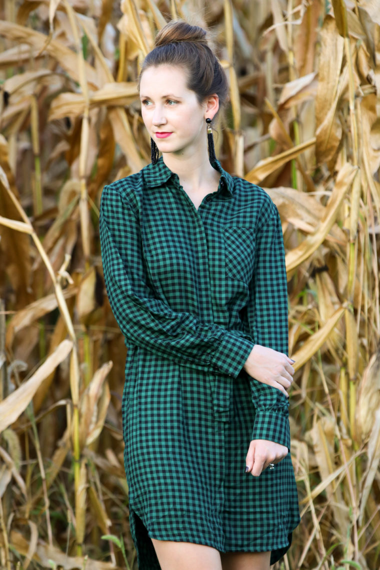 for the love of glitter, green gingham dress, fall style, shirt dress, women's fashion