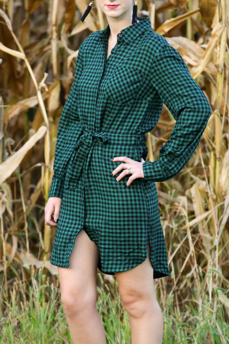 for the love of glitter, green gingham shirt dress, gingham dress, fall style, women's fashion