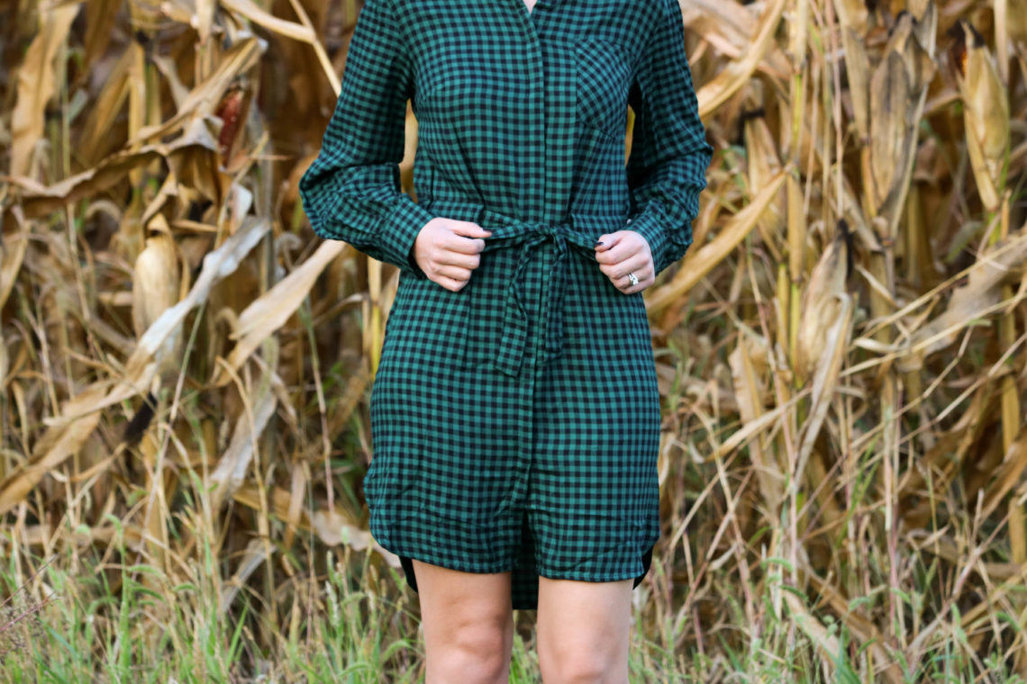 for the love of glitter, green gingham shirt dress, fall style, gingham dress, women's fashion