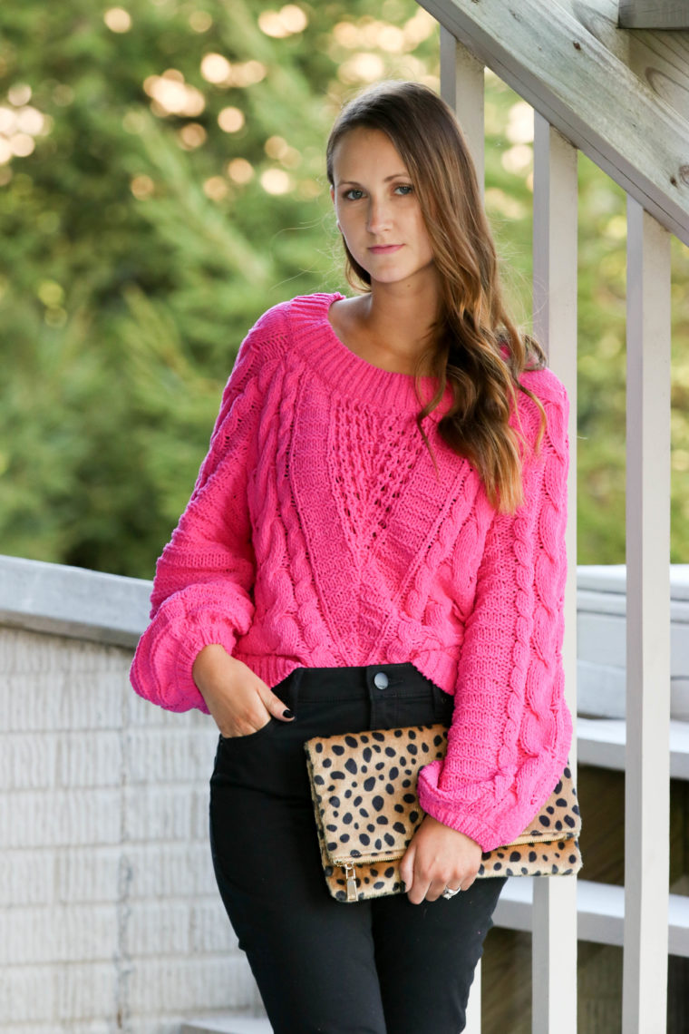 for the love of glitter, hot pink sweater, pink cable knit sweater, leopard clutch, fall style, women's fashion