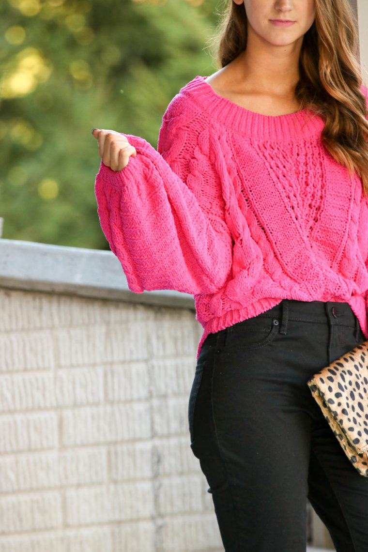 for the love of glitter, hot pink sweater, pink cable knit sweater, black jeans, fall style