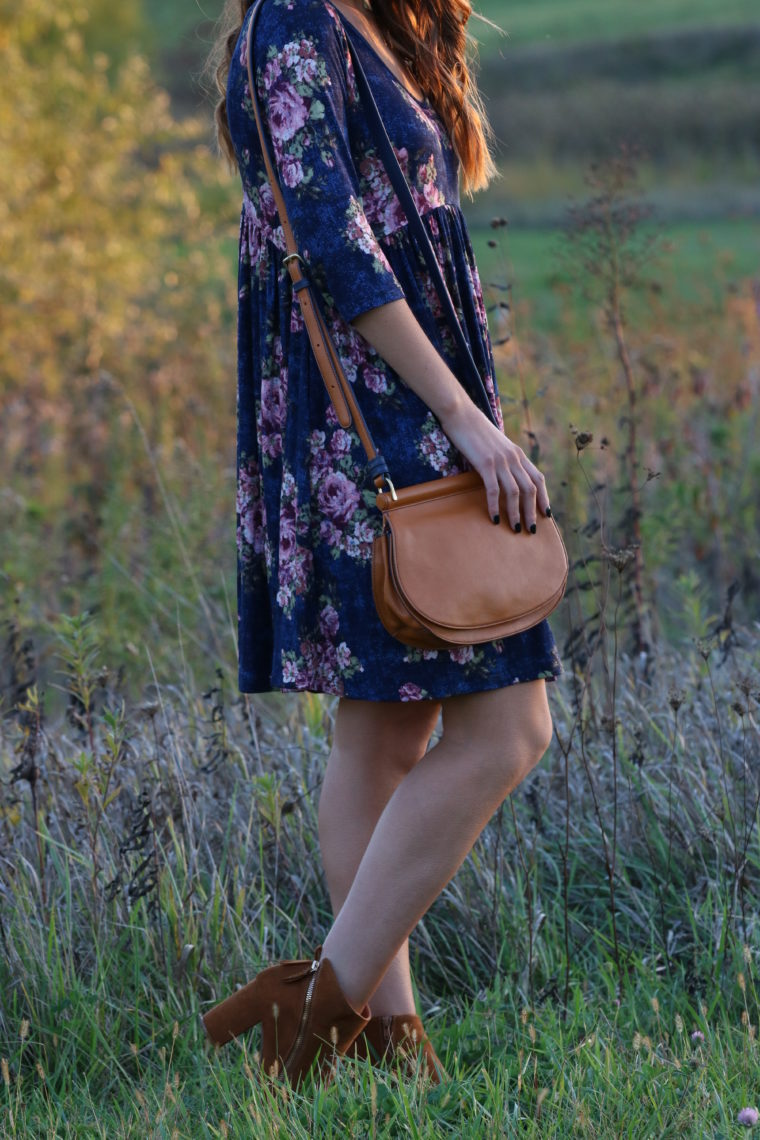 for the love of glitter, blue floral dress, floral swing dress, brown saddle bag fall style, women's fashion