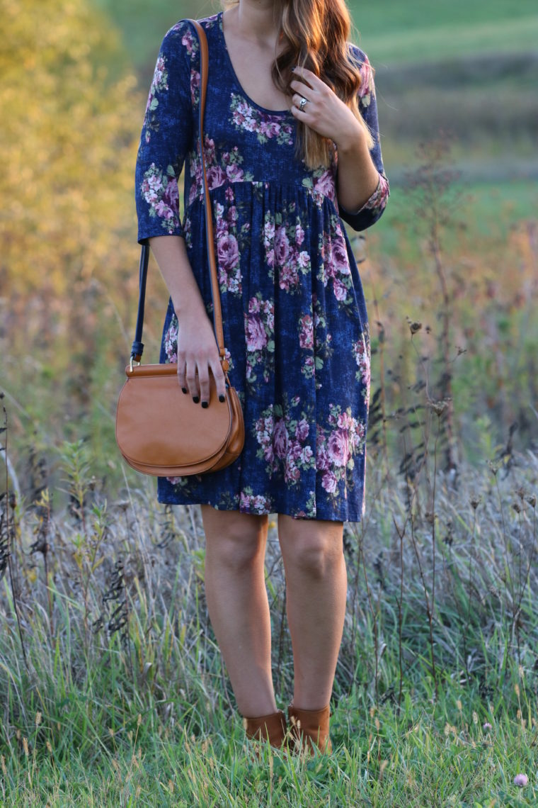 for the love of glitter, blue floral dress, fall style, Vera Bradley saddle bag