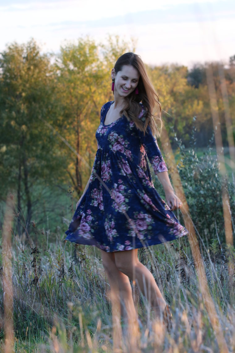 for the love of glitter, blue floral dress, floral swing dress, fall style, women's fashion
