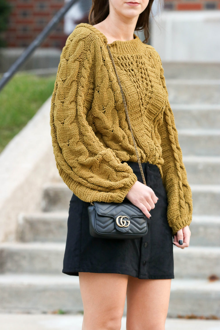 for the love of glitter, mini Gucci bag, cable knit sweater, fall style, women's fashion