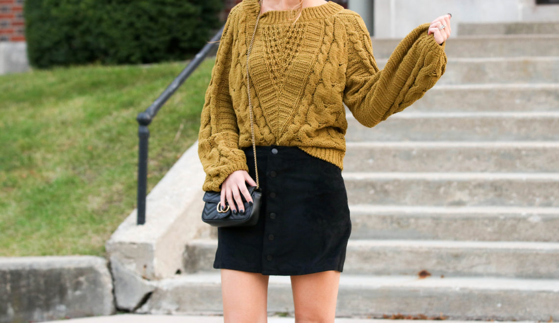 for the love of glitter, black Gucci bag, black suede skirt, cable knit sweater, fall style