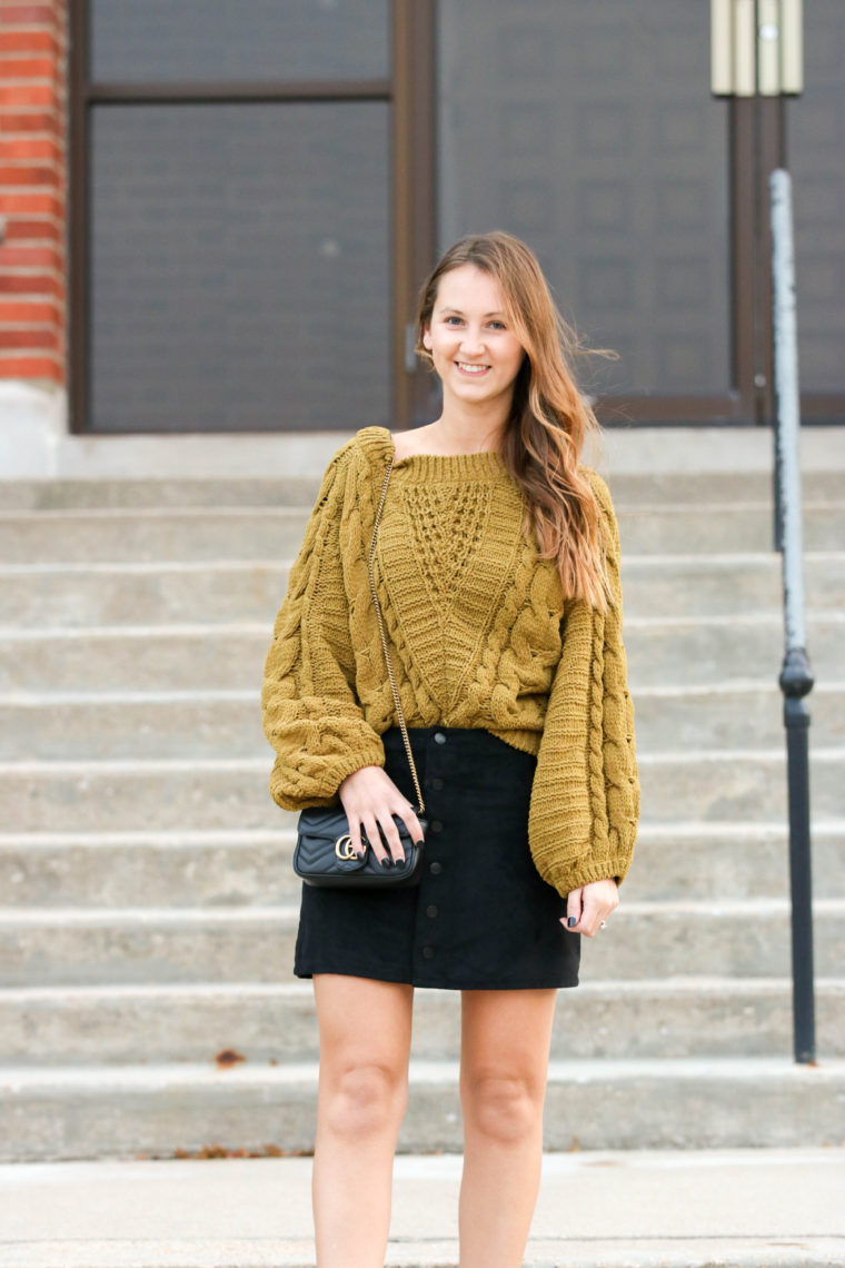 for the love of glitter, cable knit sweater, balloon sleeve sweater, black suede skirt, fall style