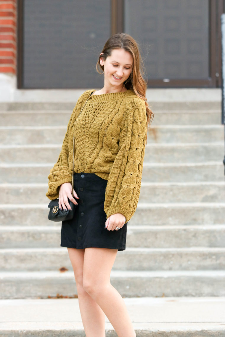 for the love of glitter, cable knit sweater, balloon sleeve sweater, fall style, Gucci bag