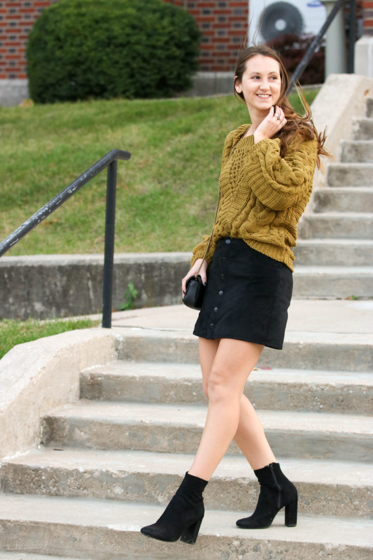 for the love of glitter, cable knit sweater, black sock booties, suede skirt