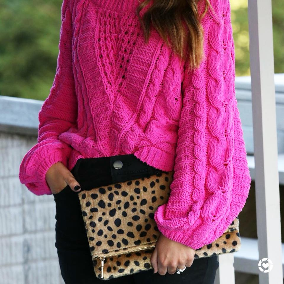 chenille sweater, hot pink sweater, for the love of glitter
