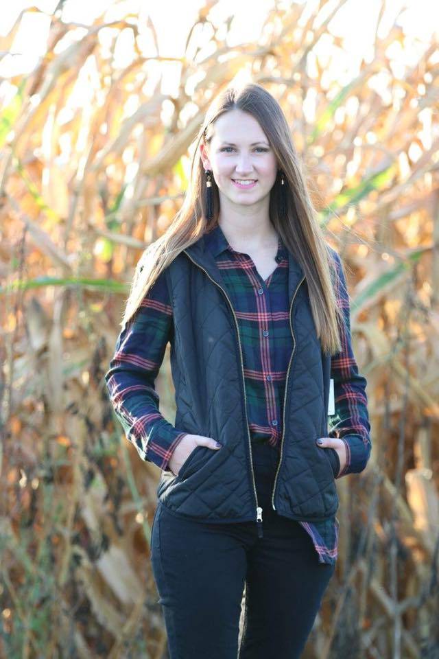 for the love of glitter, black puffer vest, plaid top, fall style