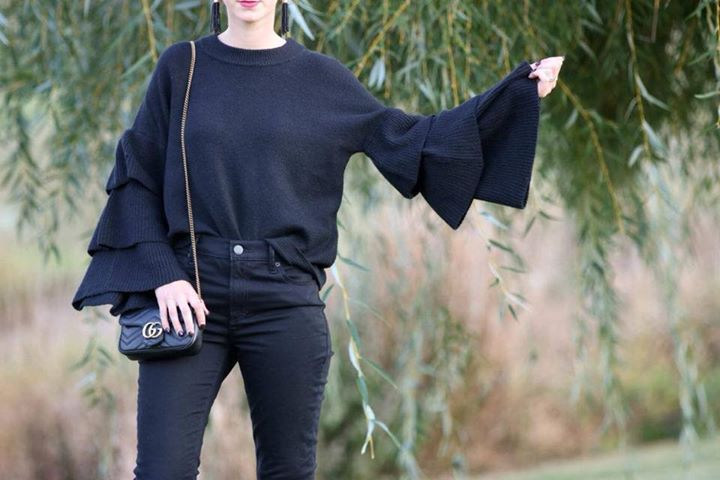 mini Gucci bag, tiered bell sleeves, black blouse, fall style