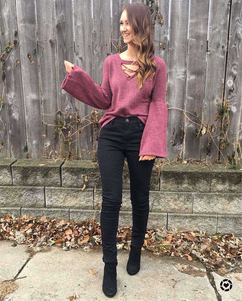 for the love of glitter, bell sleeve top, fall style