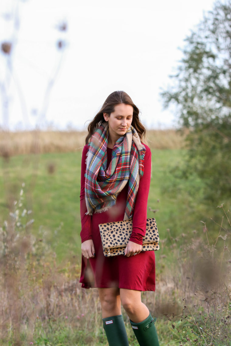 for the love of glitter, burgundy dress, plaid blanket scarf, fall style