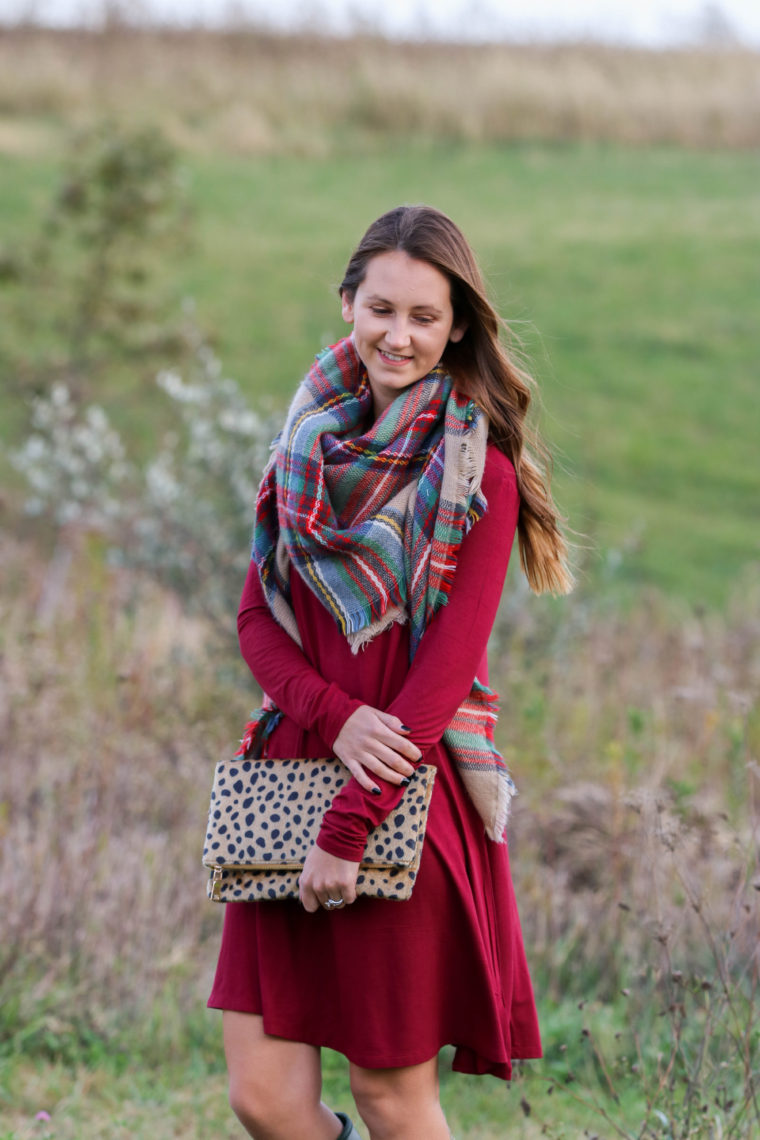 for the love of glitter, plaid blanket scarf, leopard clutch, burgundy dress, fall style