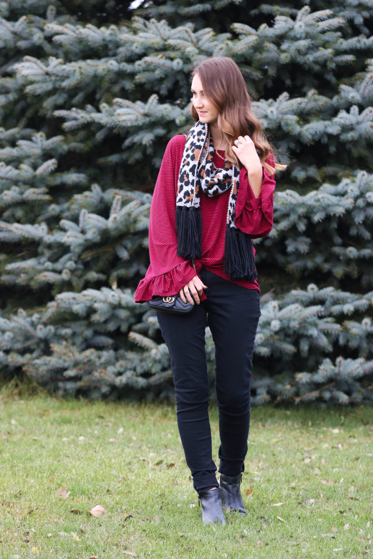 for the love of glitter, stripe top, leopard scarf, bell sleeves, holiday style