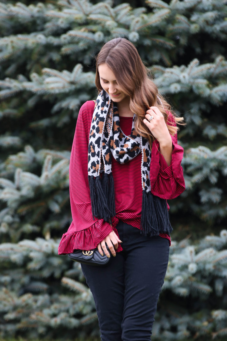 for the love of glitter, holiday style, leopard scarf, bell sleeve top